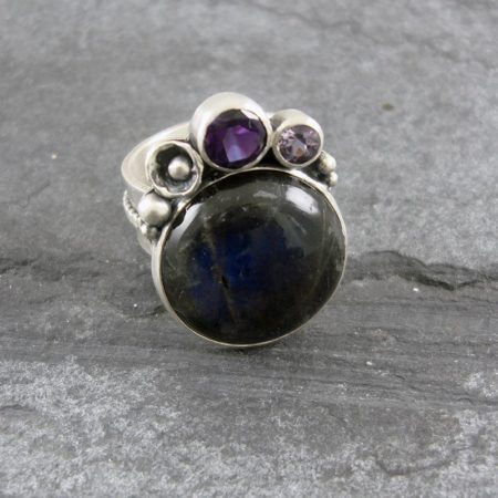 Labradorite & Amethyst Ring in sterling silver