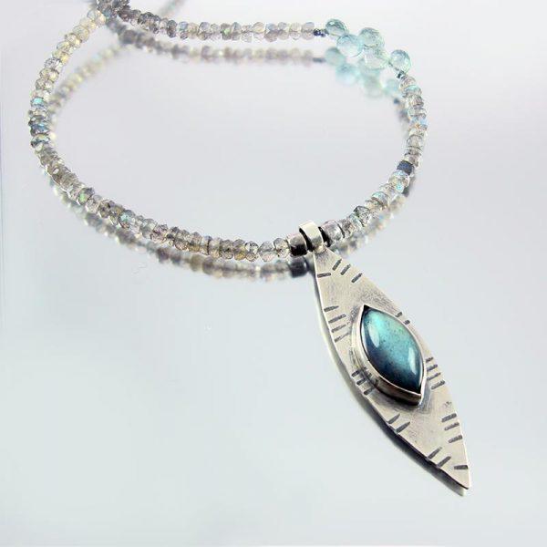 Labradorite & Silver Necklace - Marquise