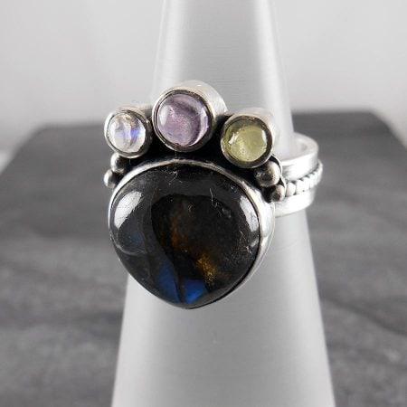 Labradorite, Peridot, Moonstone & Amethyst Ring