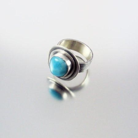 Larimar & Silver Ring - Ripples
