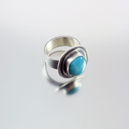 Larimar & Silver Ring - Ripples