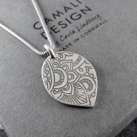 Mehndi Petal Silver Pendant