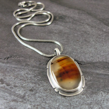 Montana Agate and silver pendant
