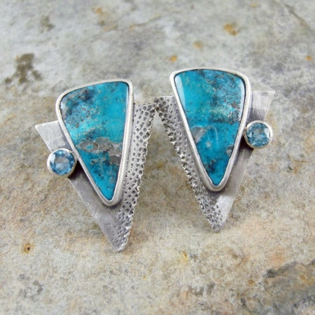 New Mexico Turquoise and Swiss Blue Topaz stud earrings in sterling silver