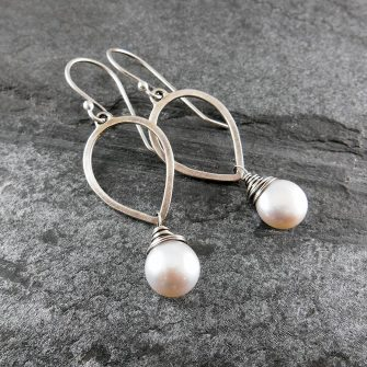 Pearl Petal Drop Silver Earrings