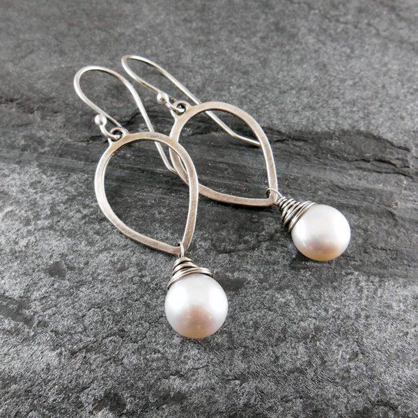 Pearl Petal Drop Silver Earrings