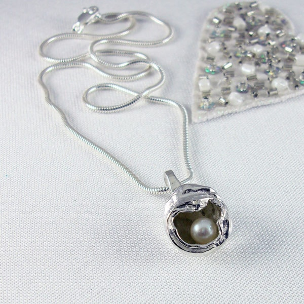Pearl Pod - Silver and Freshwater Pearl Pendant