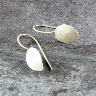 Petal Fixed Drop Silver Earrings