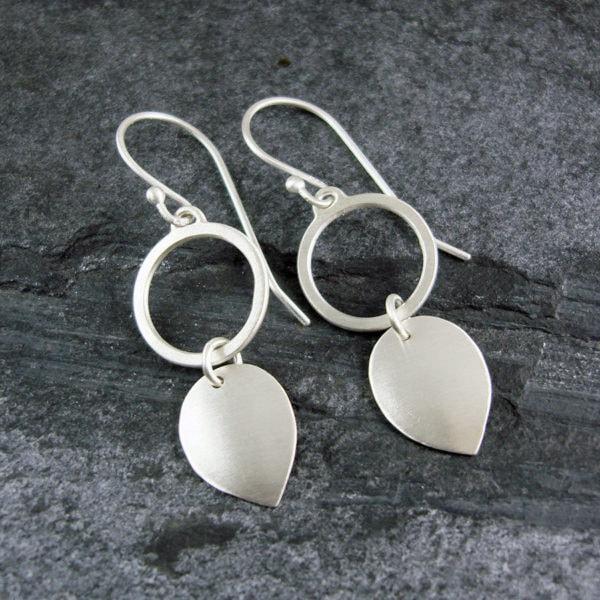 Petal Loop Drop Silver Earrings