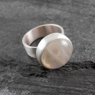 Rainbow Moonstone & Sterling silver ring - Full Moon