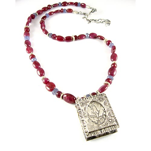 Ruby & Silver Necklace - Boxed