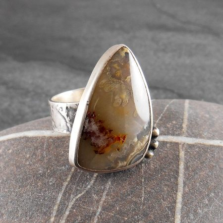 Sagenite Agate & Silver Ring - Mossy
