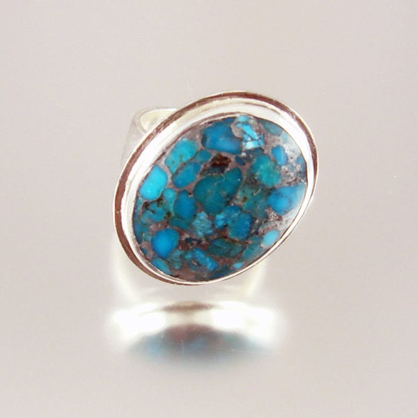 Silver Infused Turquoise Ring in Polished Sterling Silver