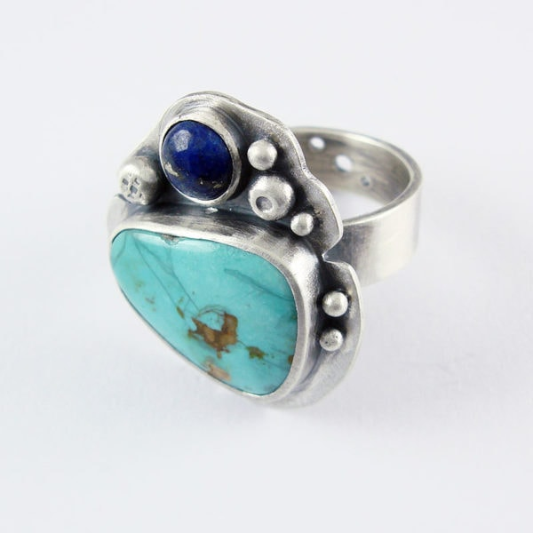 Turquoise and Lapis Lazuli Ring in Silver
