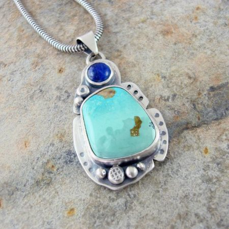 Turquoise and Lapis Lazuli Silver Pendant