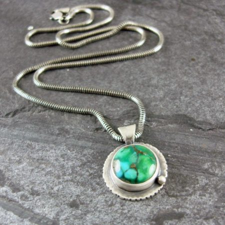 Turquoise and Sterling Silver Pendant - Edged