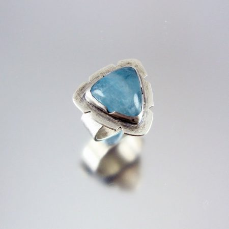 Aquamarine & Silver Ring - Powder Blue