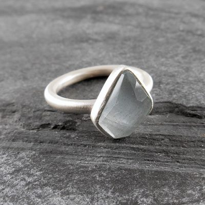 Aquamarine Stacking Rings in Sterling Silver - Serenity