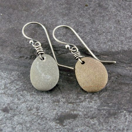 Beach Pebble & Silver Drop Earrings