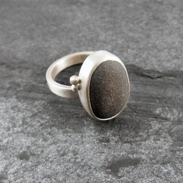 Beach Pebble & Silver Ring - Boulder II