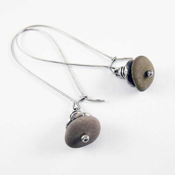 Beach Pebble & Silver Stack Earrings, Long