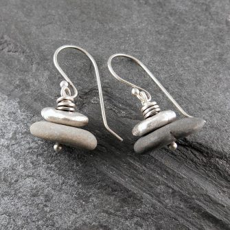 Beach Pebble & Silver Stack Earrings, Short
