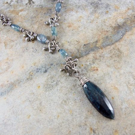 Blue Kyanite Seed Pod Silver Necklace