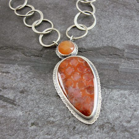 Coral and Carnelian Boho Necklace in sterling silver