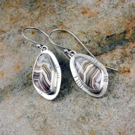 Crazy Lace Agate and Sterling Silver earrings - Stripey Lace