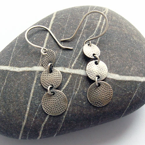 Disc Trio Silver Earrings, graffiti pattern