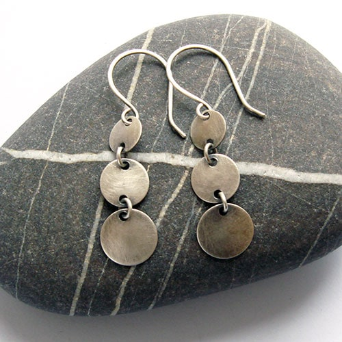 Disc Trio Silver Earrings, plin