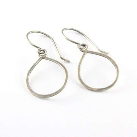 Drop Loop Silver Earrings