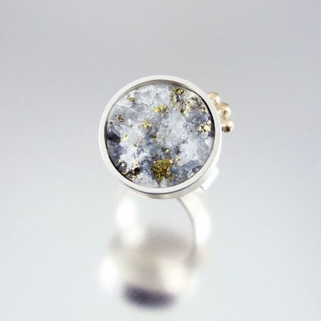 Druzy with Pyrite & Silver Ring