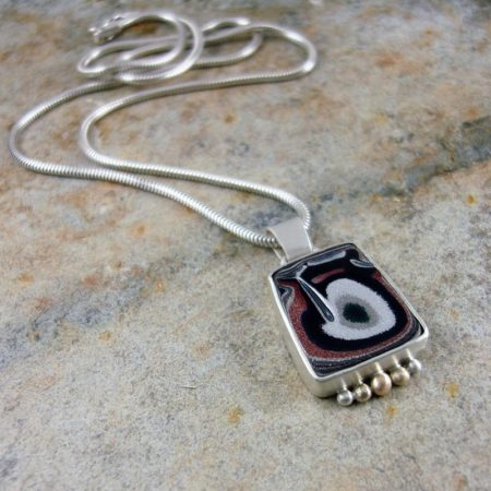 Fordite and Silver Pendant - Love Fordite