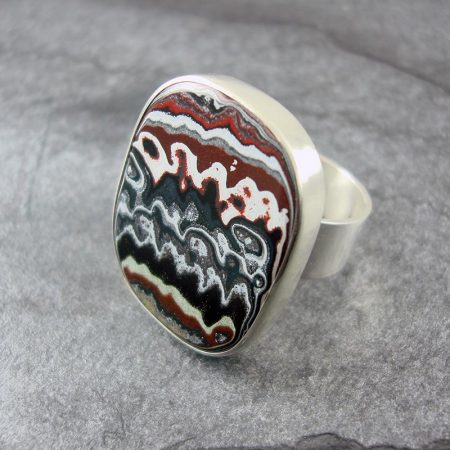 Fordite and Silver Ring - Graphic Fordite