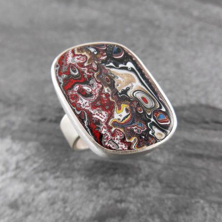 Fordite and sterling silver ring - Agatized