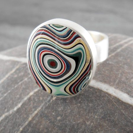 Fordite and sterling silver ring - Psychedelic