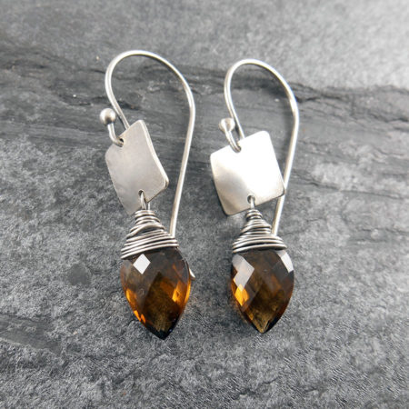 Gem & Silver Tab Earrings (more colours)