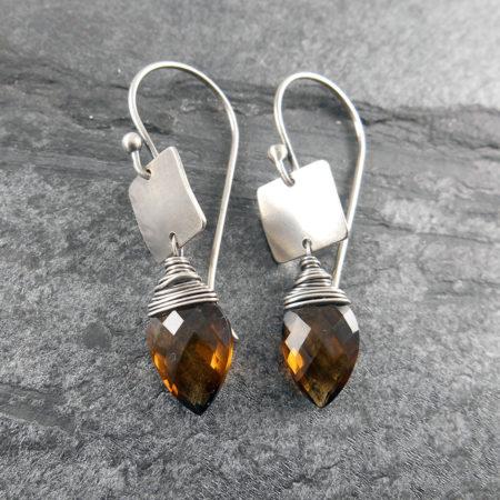 Gem & Silver Tab Earrings (more colours)