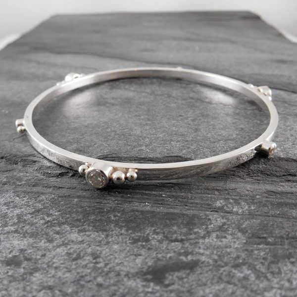 Gem Cluster Silver Bangle Bracelet (can be personalised)