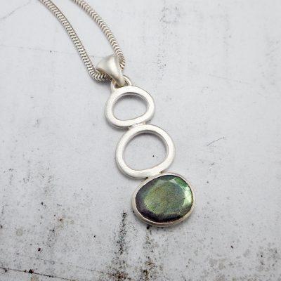 Handmade Labradorite and sterling silver pendant.