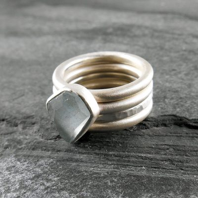 Aquamarine and sterling silver stacking rings.