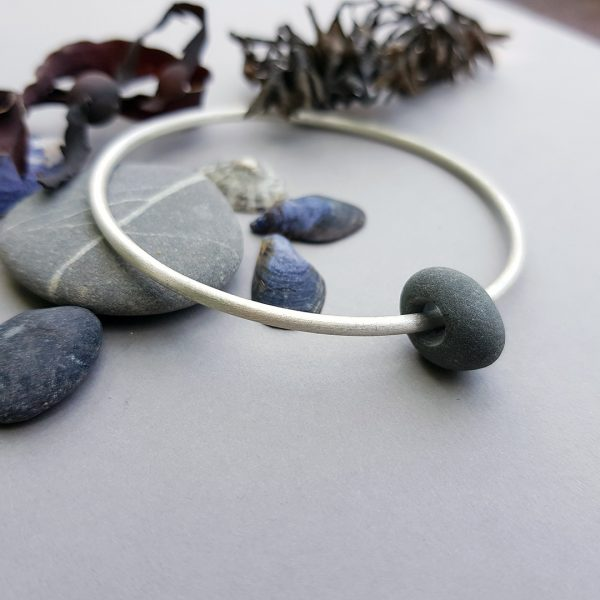 Slate pebble and frosted silver bangle