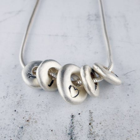 Pebble Sterling Silver Necklace in brushed matte finish