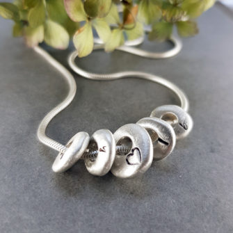 pesronalised silver pebble necklace