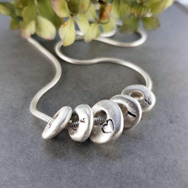 pesronalised silver pebble necklace