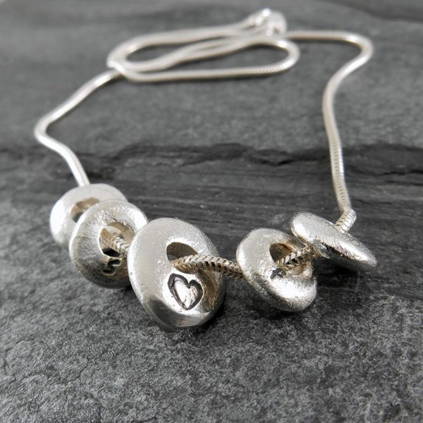 Pebble Sterling Silver Necklace in polished finish