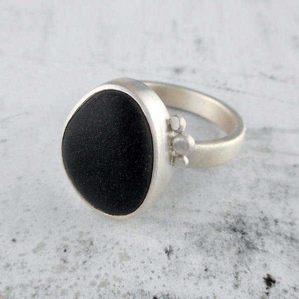 Beach Pebble & Silver Ring