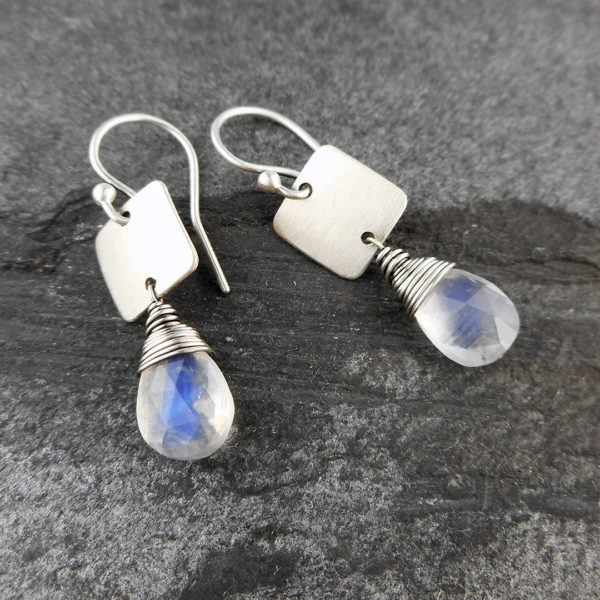 rainbow moonstone and silver tab earrings