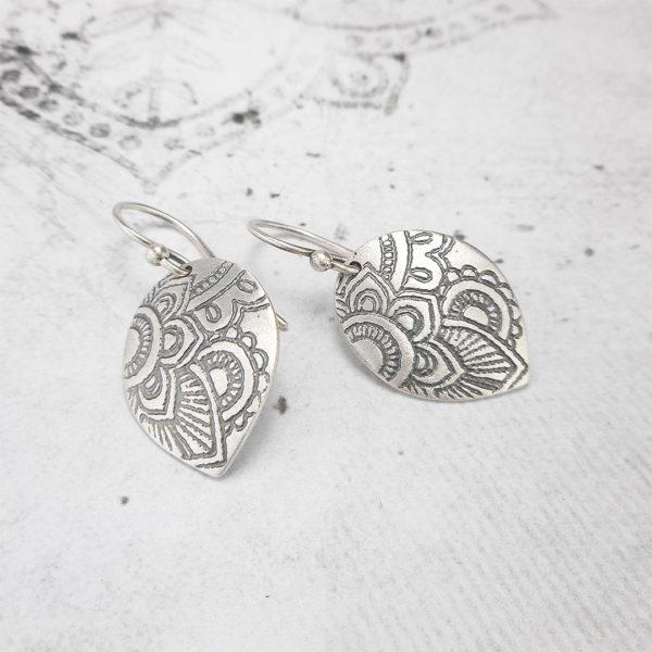 Mehndi Petal Silver Earrings